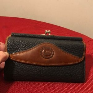 Dooney & Bourke Black & Brown Leather Clutch Walle